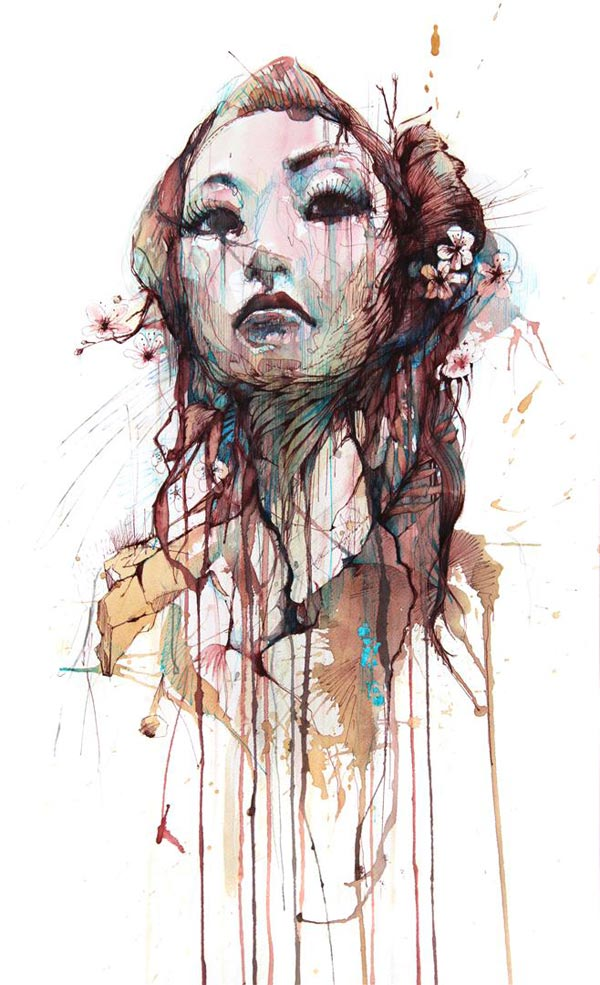 Ink Line Drawing Artists : Carne griffiths uses tea and ink to create artistic